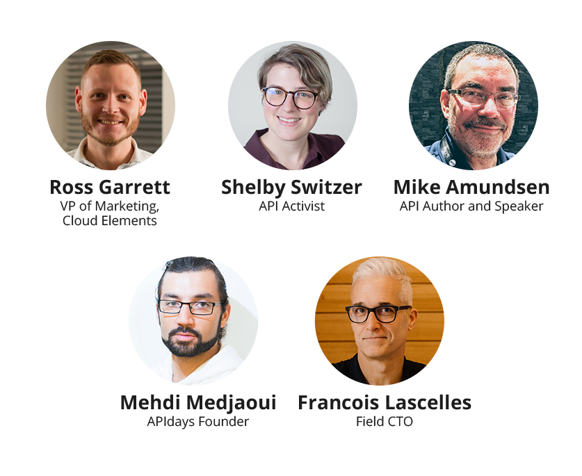 industry experts Ross Garrett, VP of Product at Cloud Elements; Shelby Switzer, API Activist;  Mike Amundsen, API Author and Speaker, Mehdi Medjaoui, APIdays Founder, and Francois Lascelles, Field CTO at Ping Identity