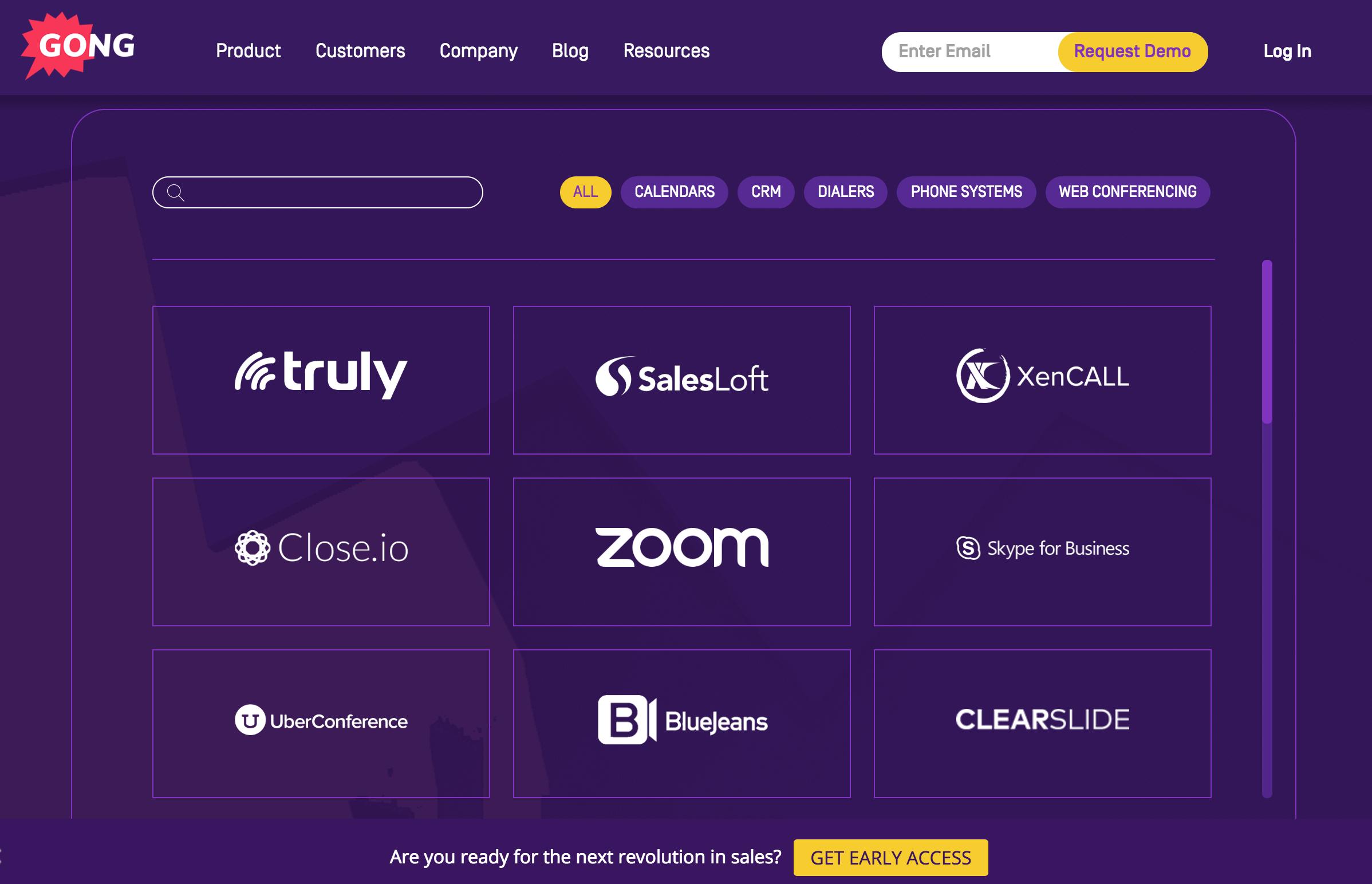 Gong API Integration Marketplace