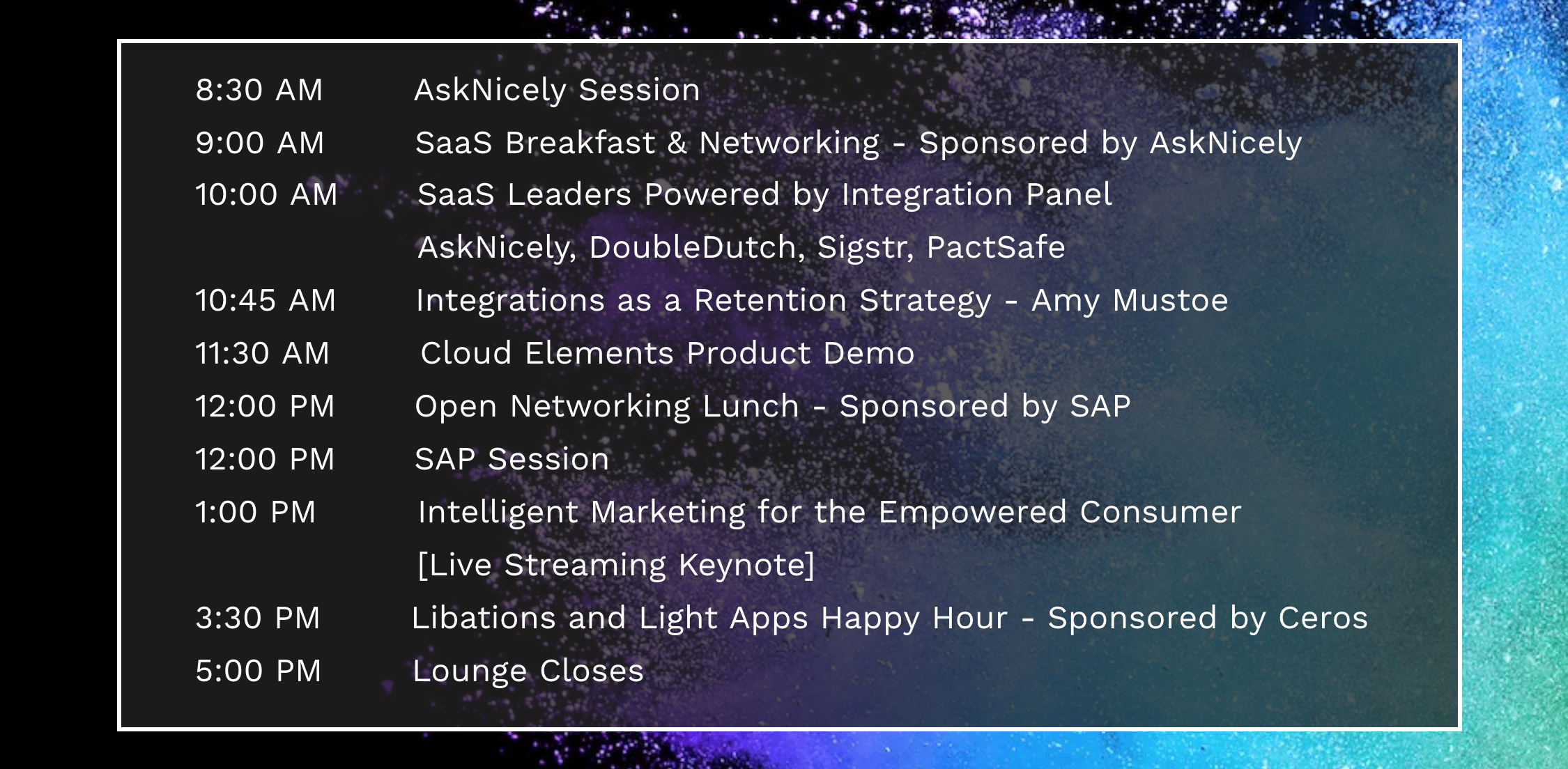 Cloud Elements Dreamforce Lounge Agenda