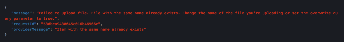 Sample Error Code from Service Provider