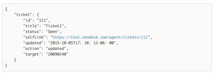 Zendesk Webhook JSON
