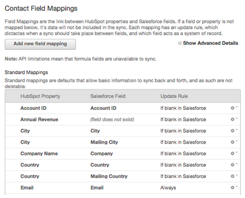 Standard field mappings