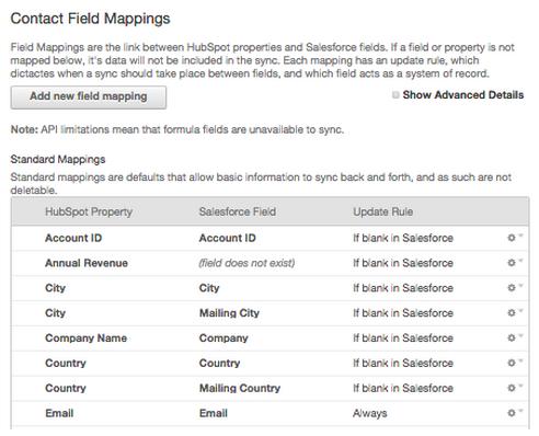 Standard field mappings